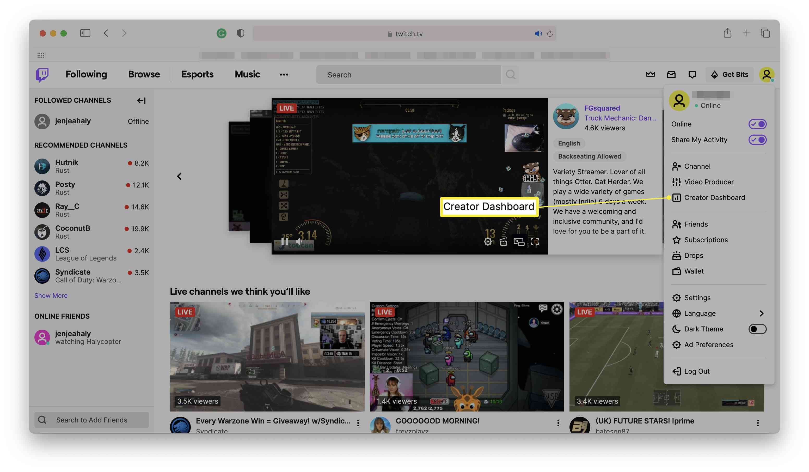 Twitch home page with Creator Dashboard highlighted