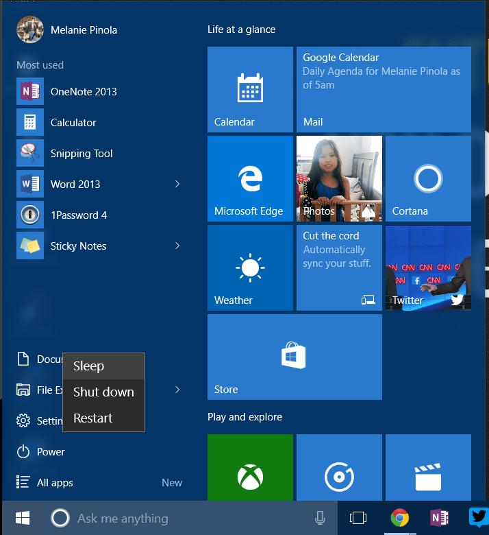 Standby or Sleep Mode screenshot
