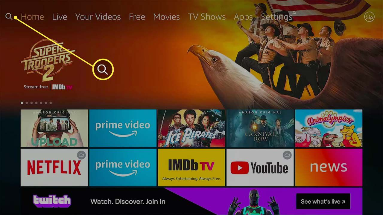 The magnifying glass icon highlighted on Fire TV.
