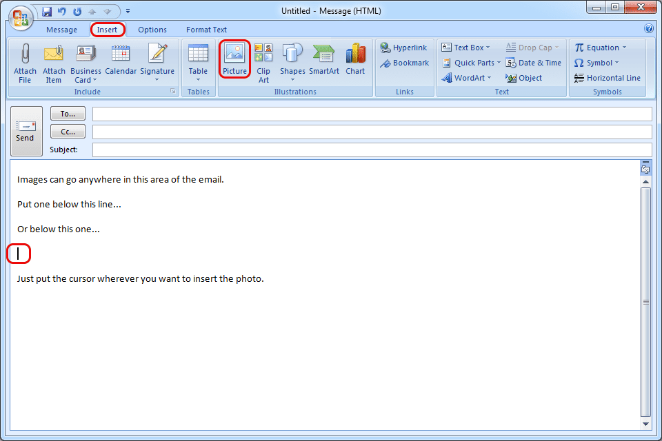 Insert An Image Inline In An Email With Outlook