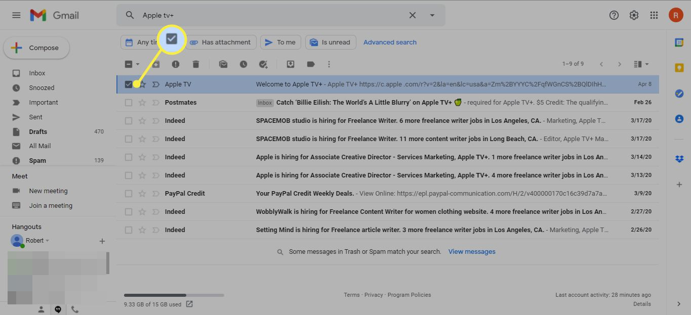 Check boxes in front of emails to return to Inbox in Gmail