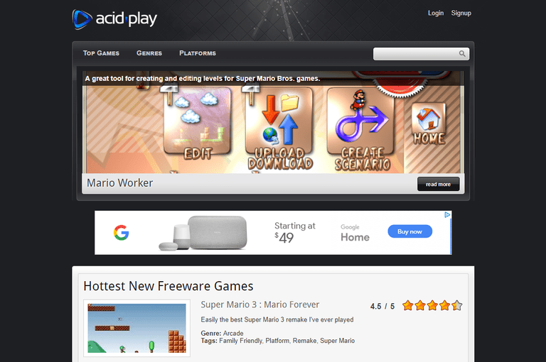 A screenshot of the Acid Play website.