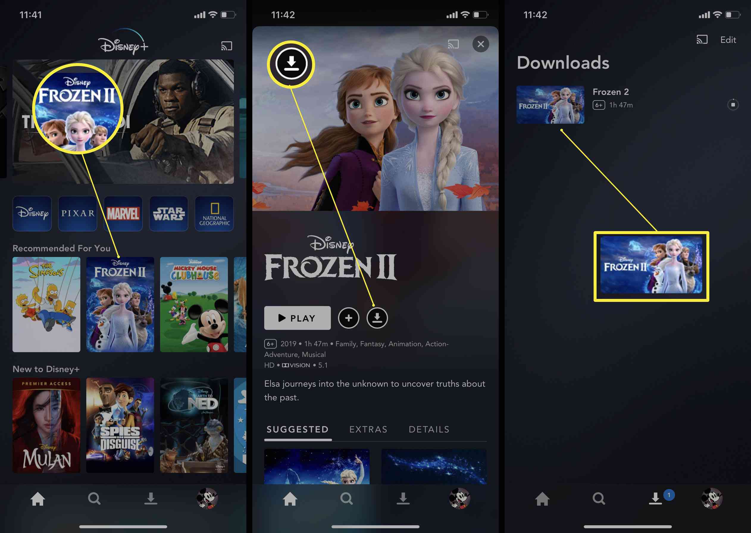 Steps needed in the Disney+ app to download a movie for offline viewing