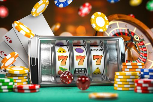Casino app on an Android smartphone with chips flying around the phone.