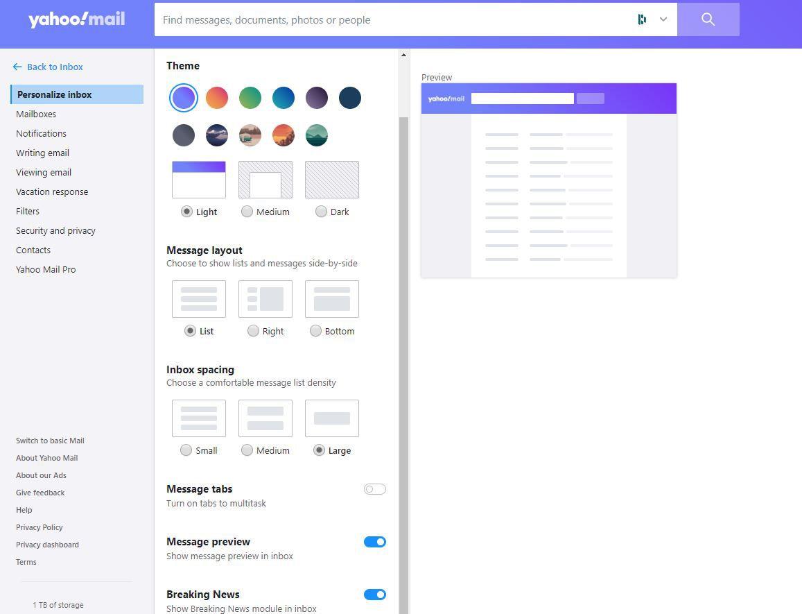 Inbox Spacing in Yahoo! Mail settings.