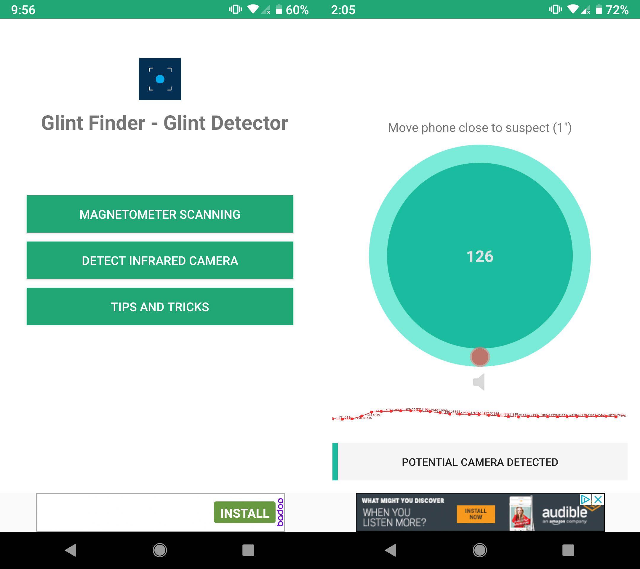 A screenshot showing Glint Finder using magneticometer scanning.