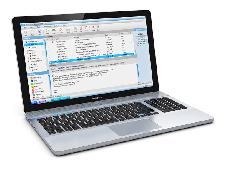Laptop with email client