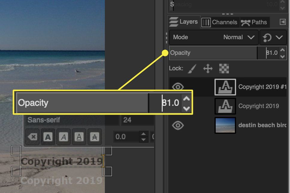 A screenshot of GIMP with a layer's opacity slider highlighted