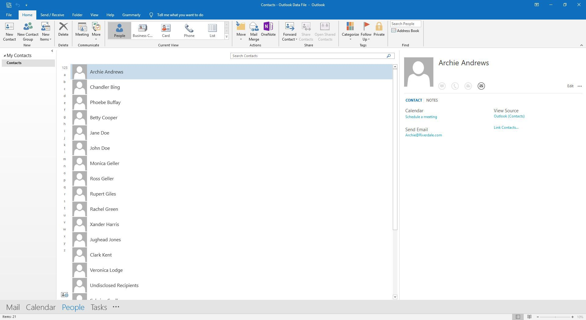 Outlook Contacts listed