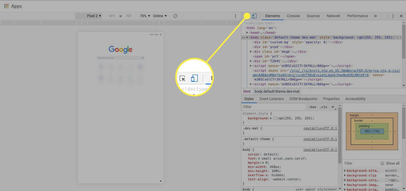 A screenshot of Chrome's developer tools menu with the Device Mode button highlighted