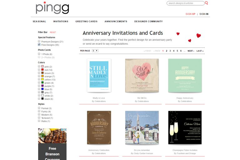 13 places to find free ecards and virtual greetings the anniversary ecard section at pingg m4hsunfo