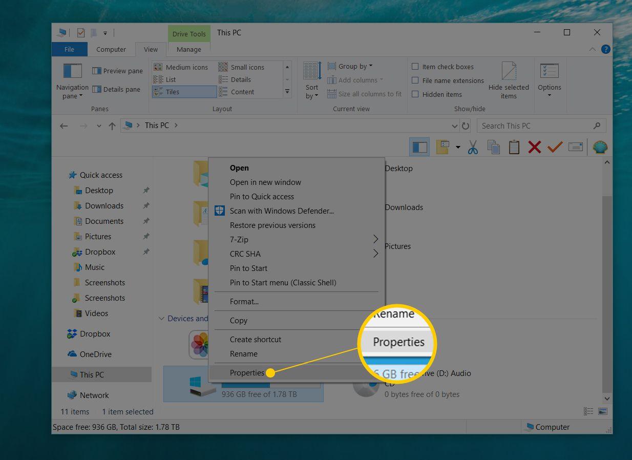 Properties right-click menu item in Windows 10