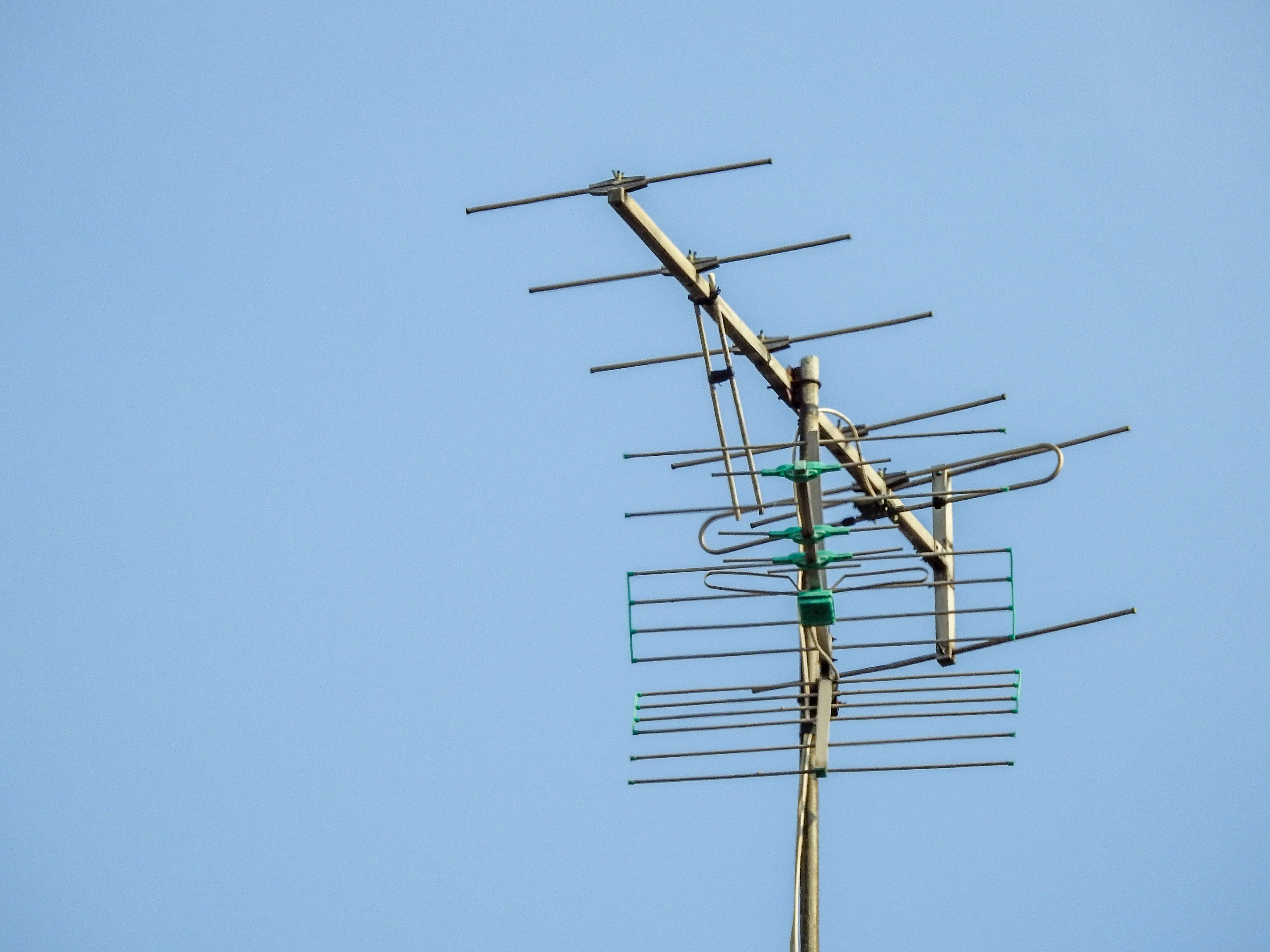 Low Angle View Of Television Aerial Against Clear Sky