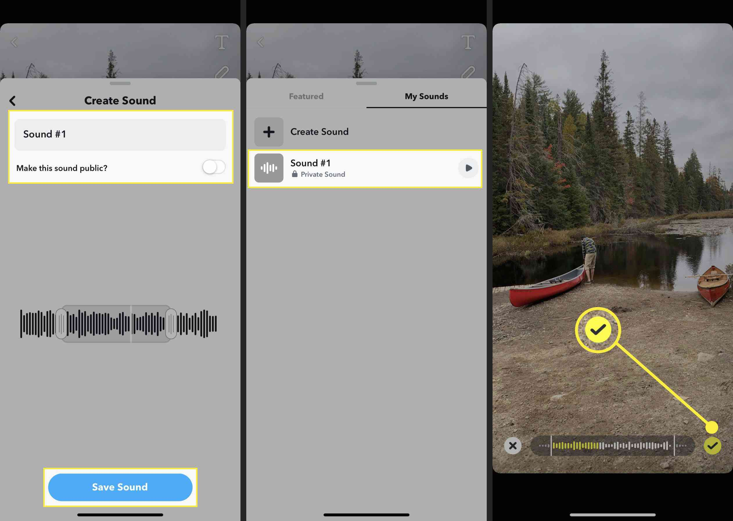 Adding your own sound to a snap.