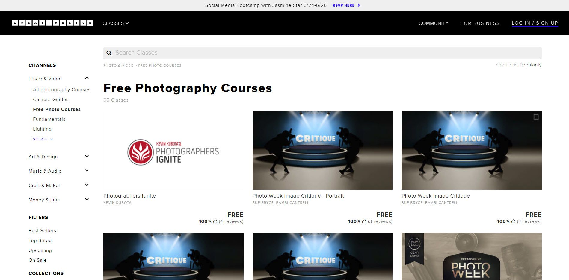 The CreativeLive website for free photography classes.
