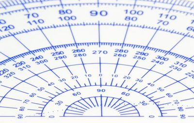 Close-Up Of Protractor Over White Background