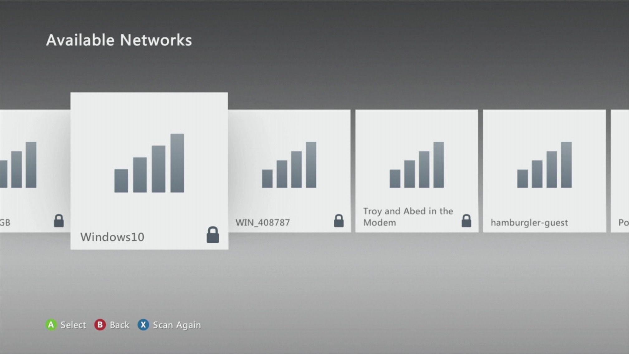 Available wireless networks in an Xbox 360