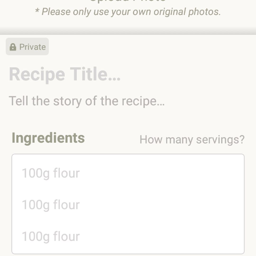 A screenshot of the recipe upload screen on the Cookpad app on an Android phone. The upload screen is a simple form you can fill out to publish your own recipes on the app to share with other Cookpad users.