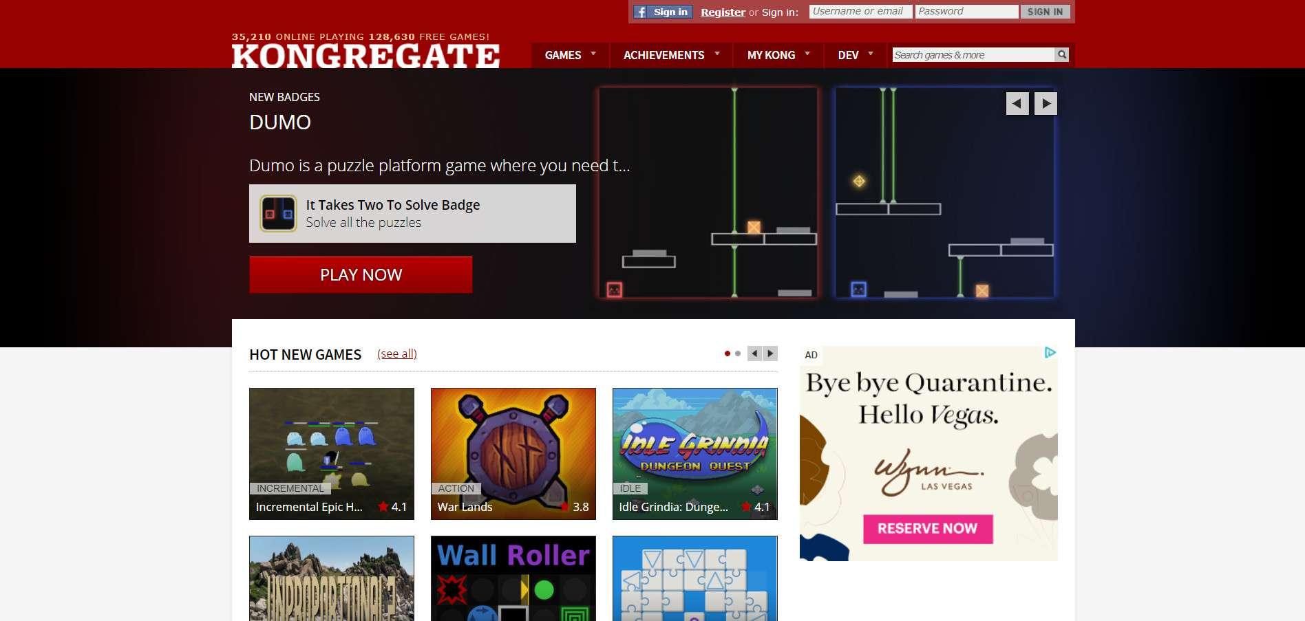 The Kongregate homepage