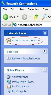 WinXP - Network Connections - Create a New Connection