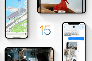 iOS 15 logo and screenshots