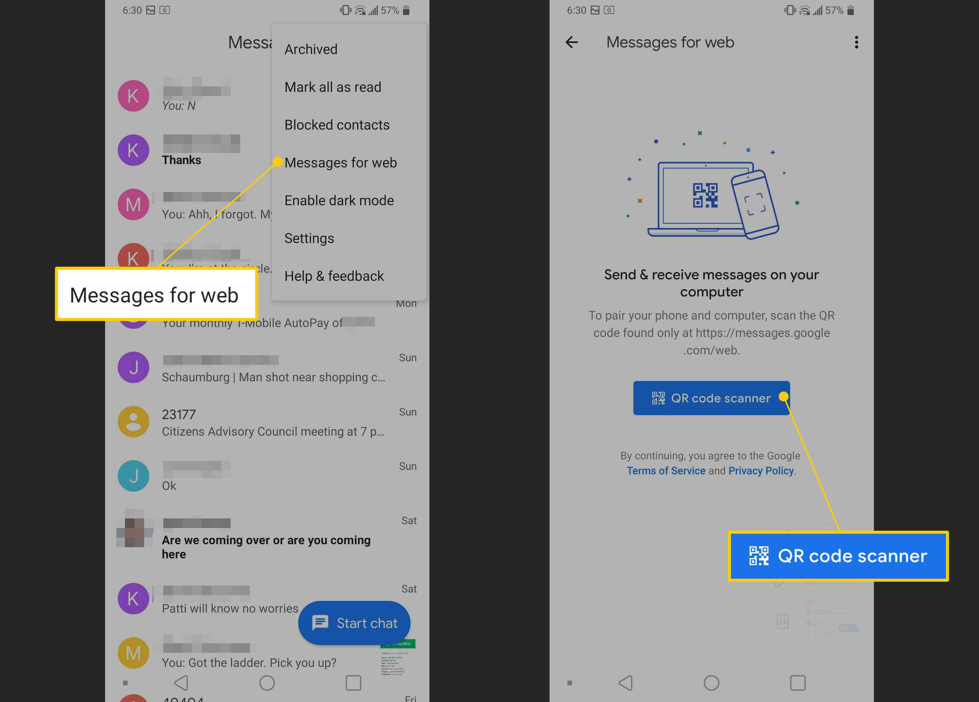 Messages for web, QR code scanner buttons on Android