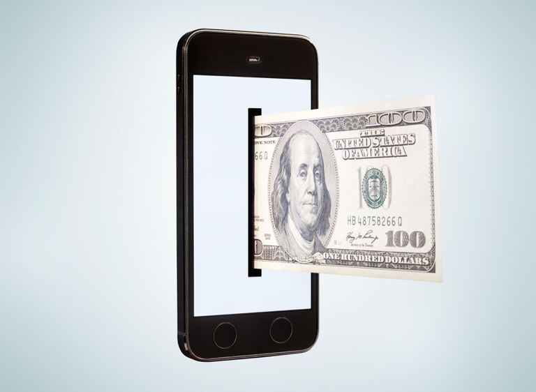 Smartphone dispensing 100 dollar bill