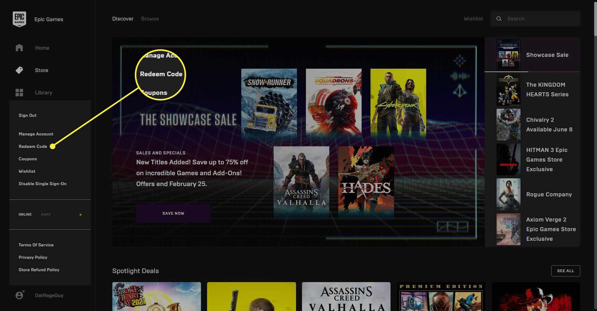 The Epic Games Launcher homepage with the Redeem Code highlighted.