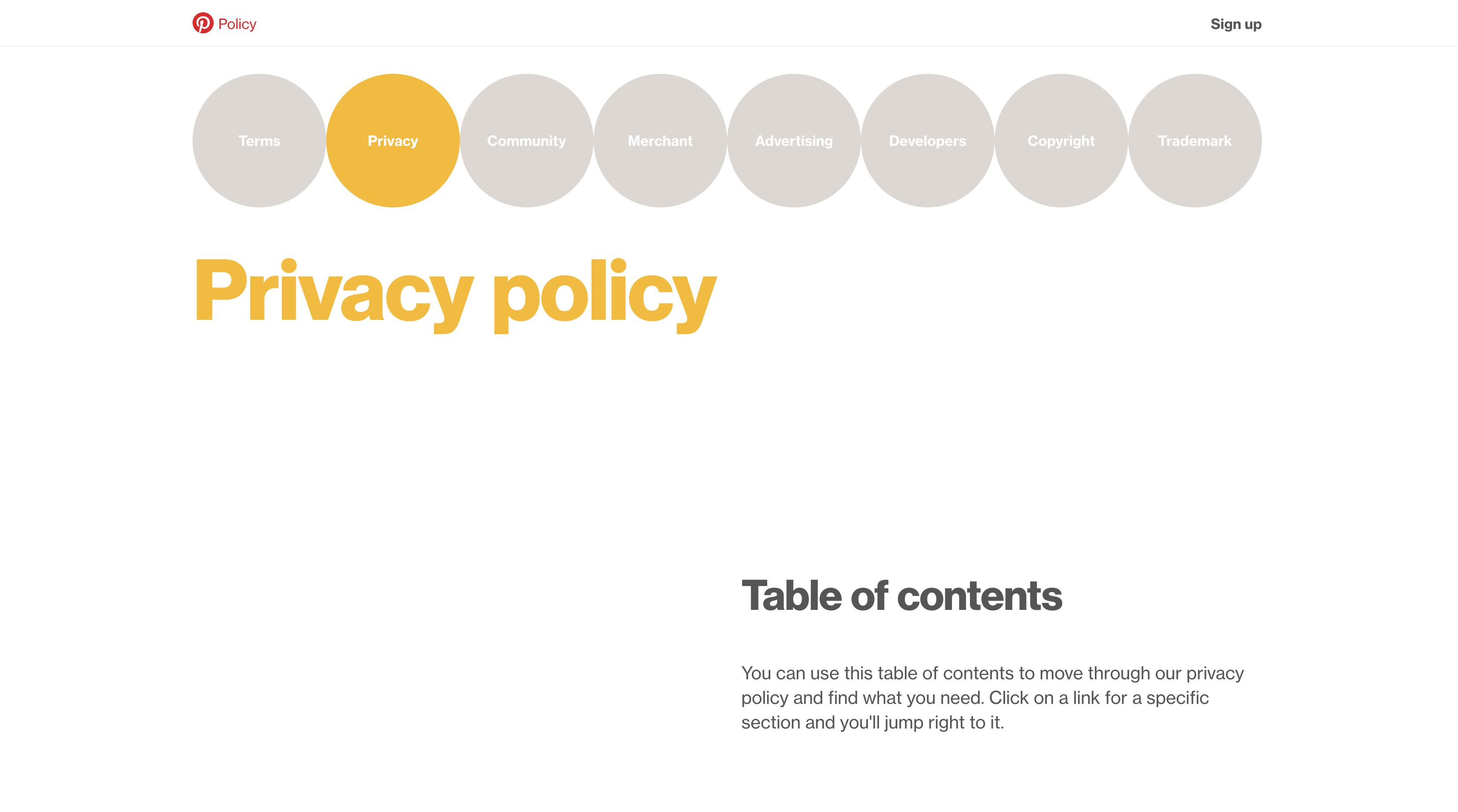Select See terms and privacy for Pinterest's privacy policy.