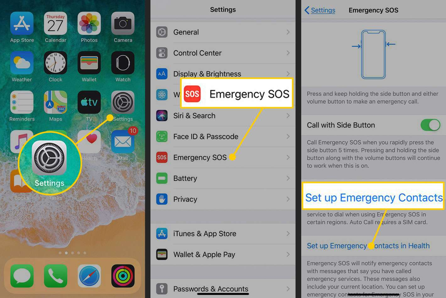 Set up Emergency Contacts on an iPhone