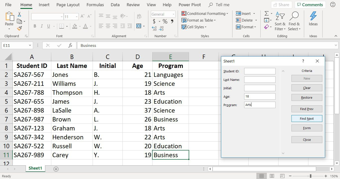 A screenshot showing the Excel data entry form used to search for records with multiple criteria