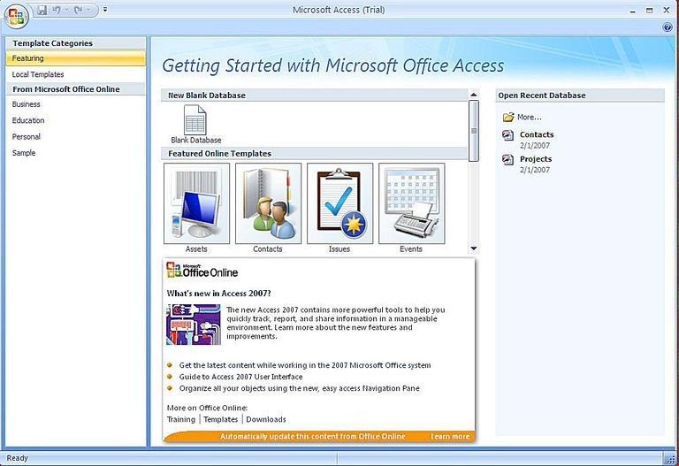 Create a microsoft access 2007 database using a template access 2007 screenshot maxwellsz