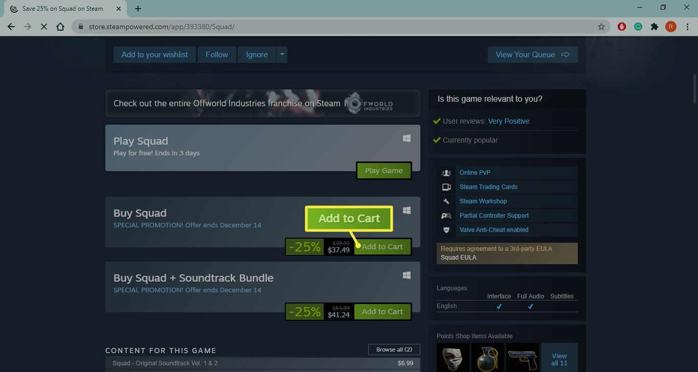 Add to Cart on Steam