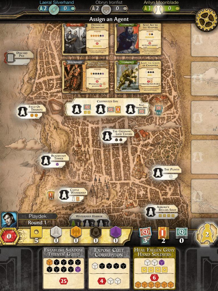 Screenshot of the game 'Lords of Waterdeep'