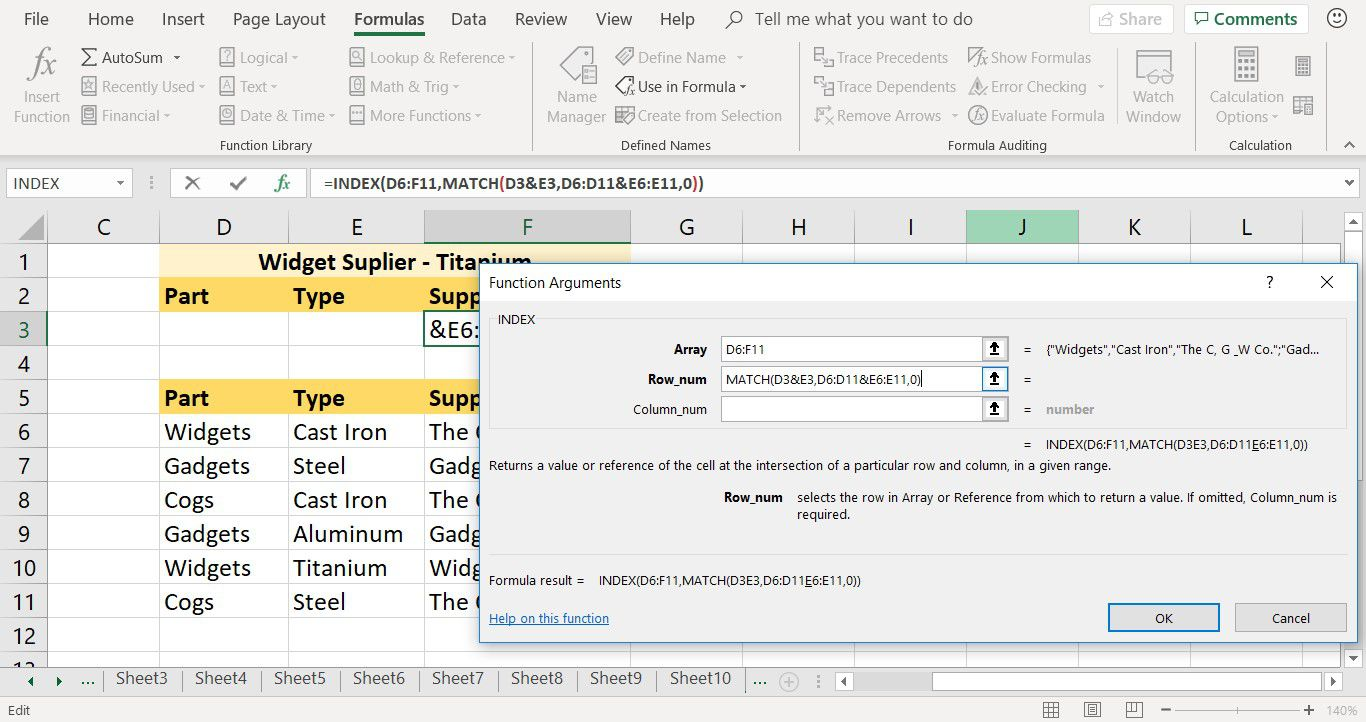 How to enter a MATCH argument in the INDEX function in Excel