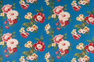 Contemplation Blue Medium Antique Floral Fabric