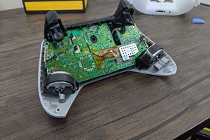 An Xbox One controller that has been taken apart.