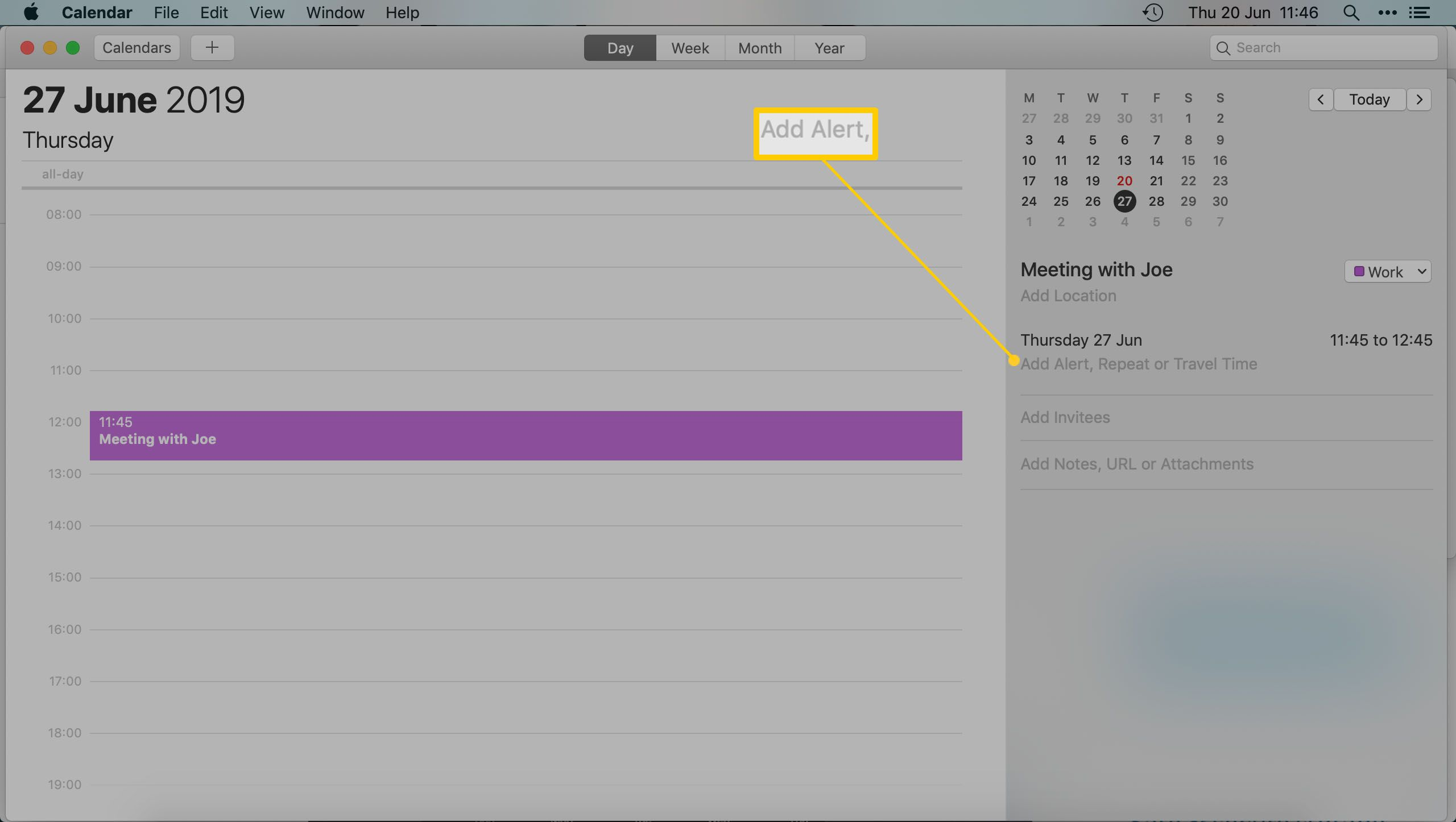 The Mac Calendar App - Highlighting adding an alert onto an appointment
