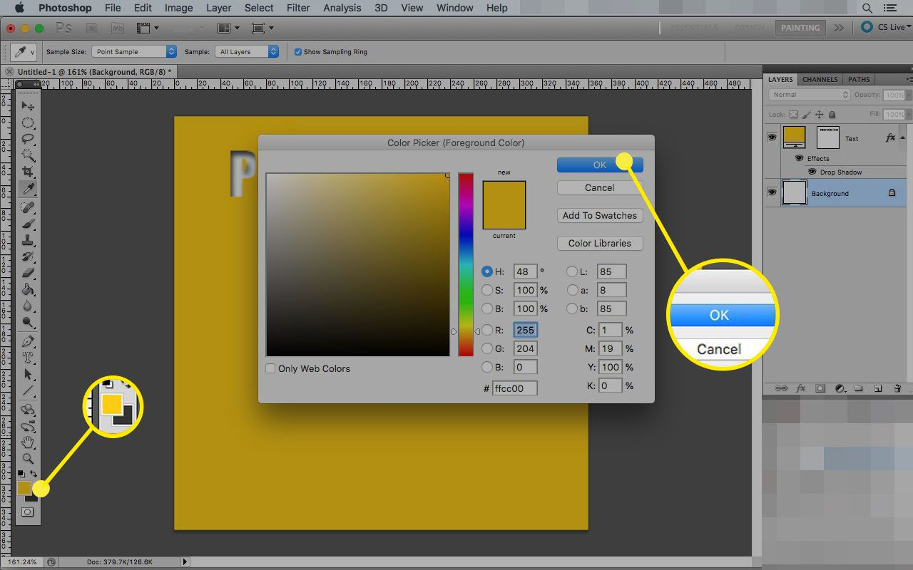 Color Picker foreground color menu with the OK button highlighted