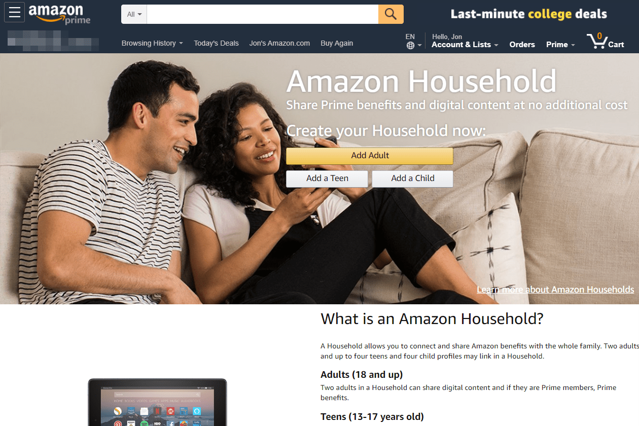 Amazon Household add adult button