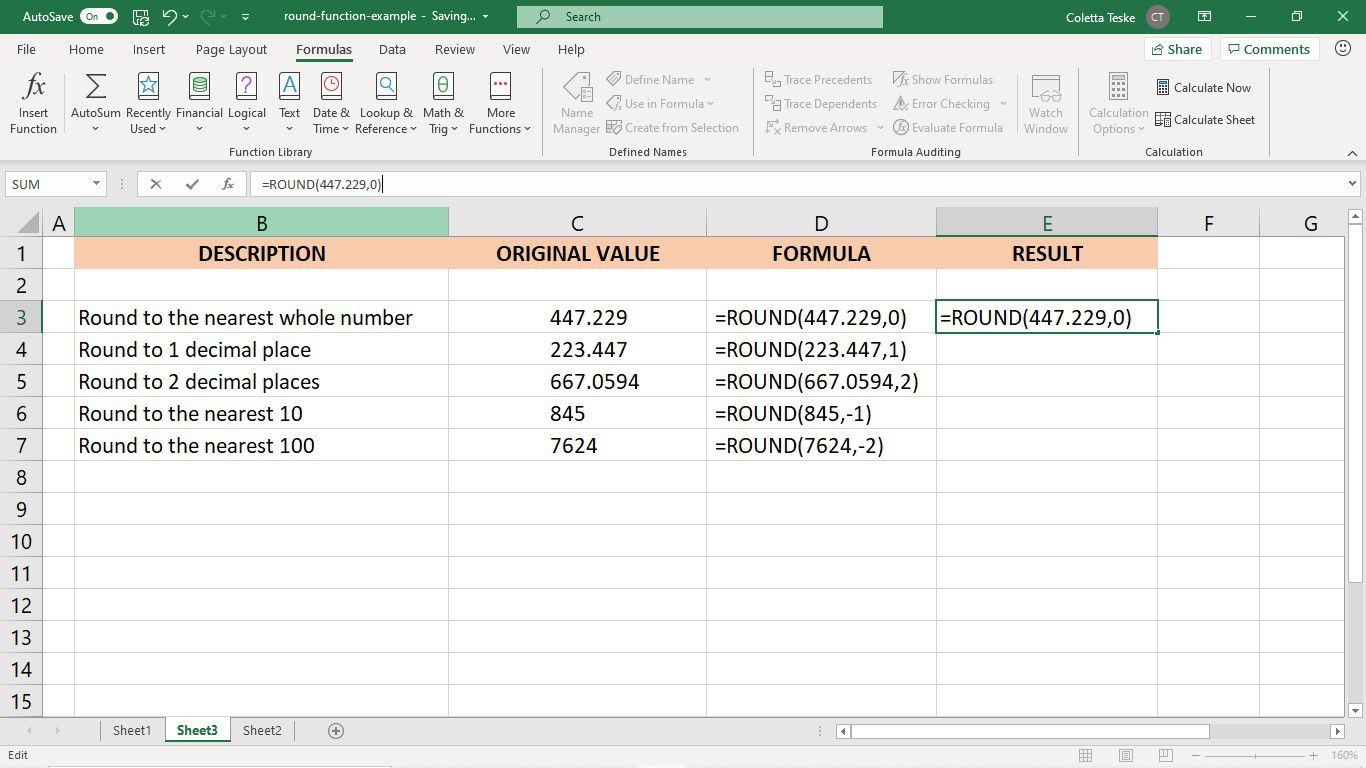 The result of the ROUND function in an Excel worksheet