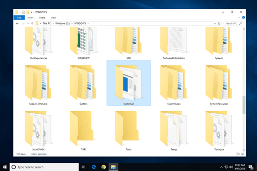 System32 folder highlighted in the Windows folder in Windows 10
