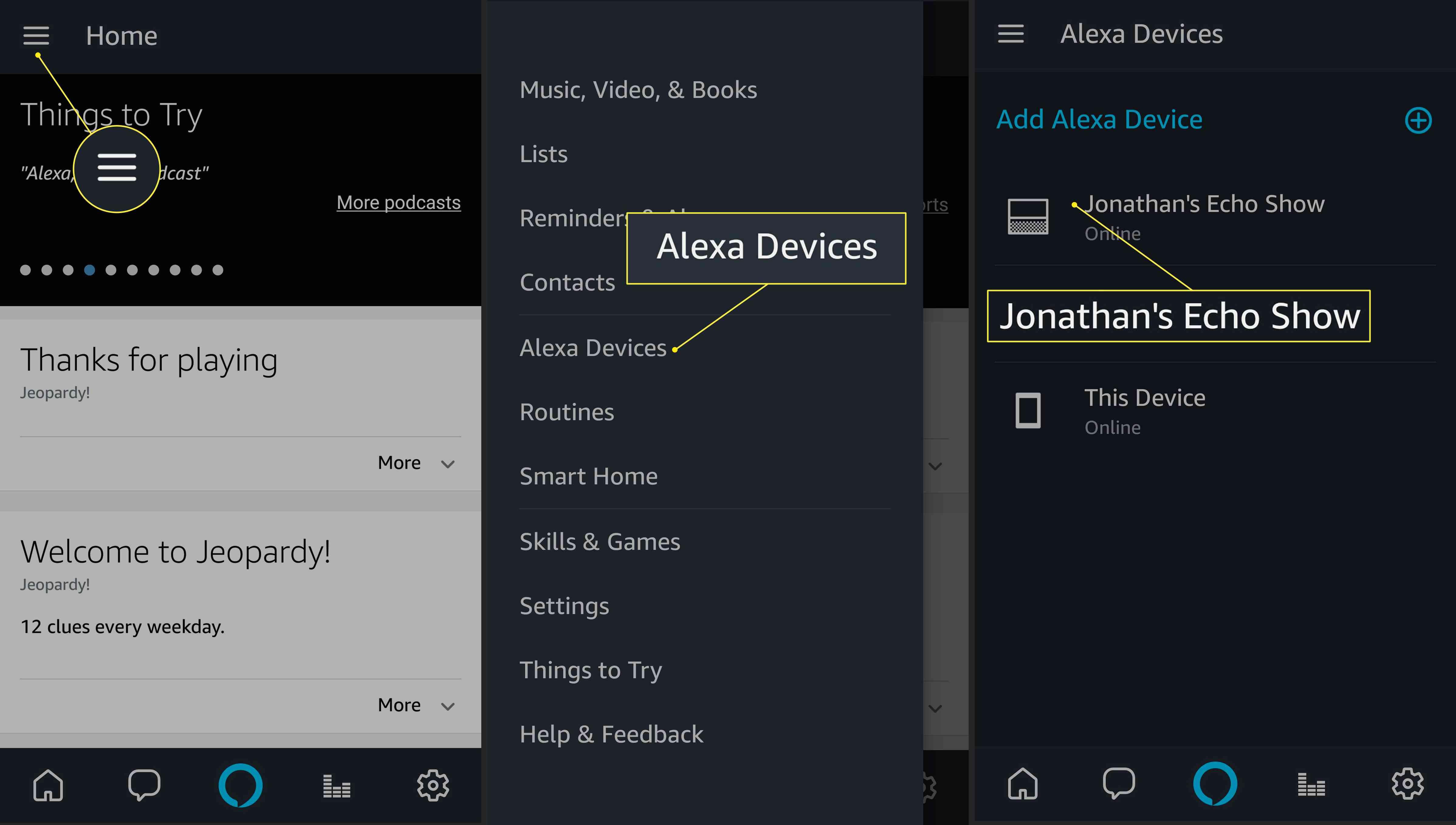 Selecting an Alexa Device in the Amazon Alexa app