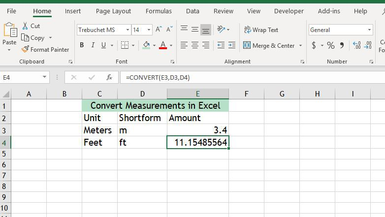 How To Use The Convert Excel Function