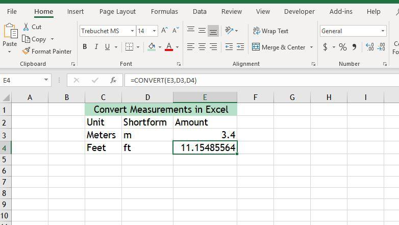 Convert measurements in Excel
