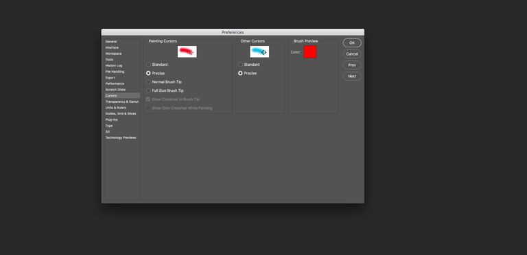 The Cursors Preferences in Photoshop CC are shown with Precise Cursors selected.
