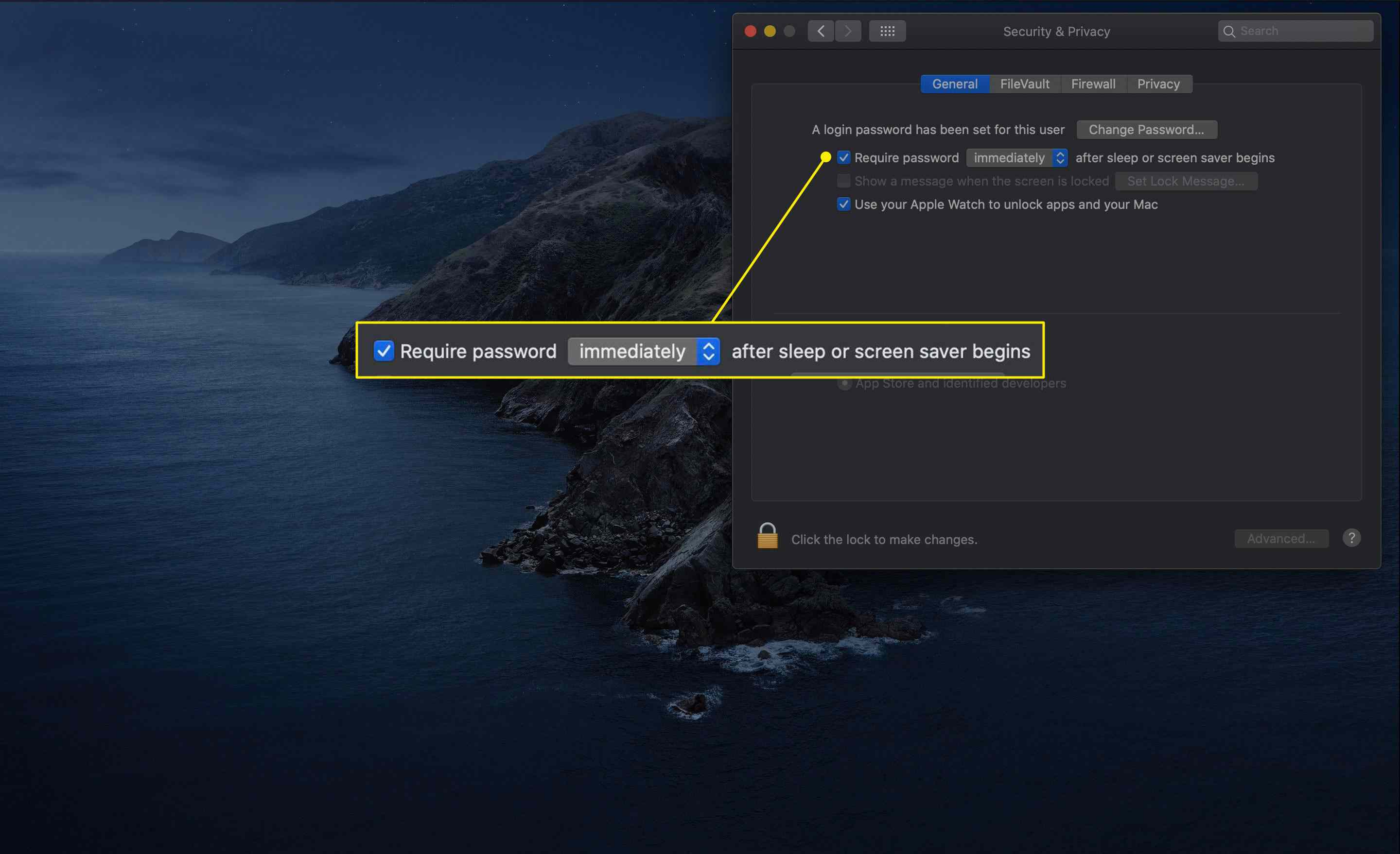 The Require Password setting in macOS