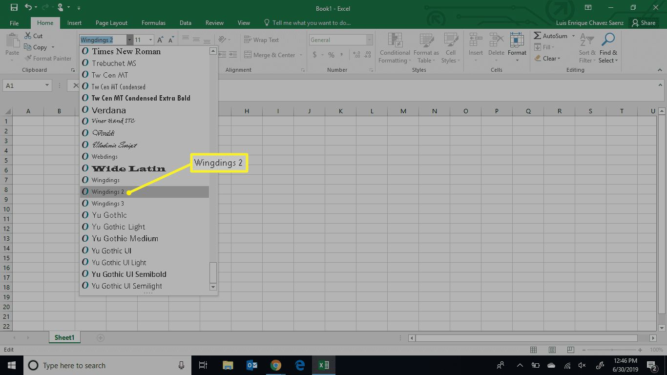 The Excel font menu with Wingdings 2 selected