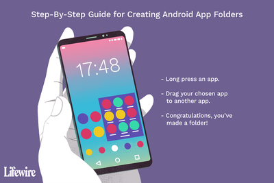 Illustration of a guide to create Android app folders with a hand holding an Android phone
