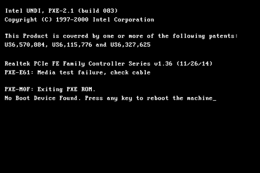 A PXE-E61 error message that reads 'Media test failure, check cable'